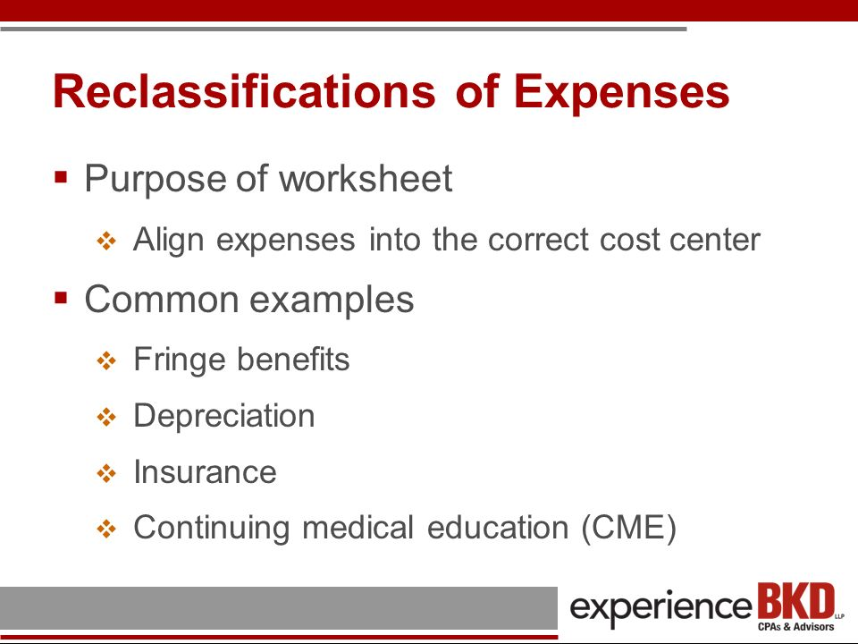 Reclassifications of Expenses