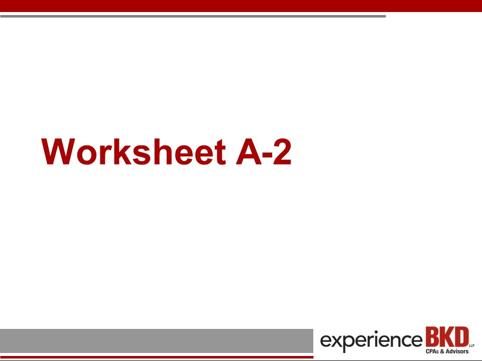 Worksheet A-2