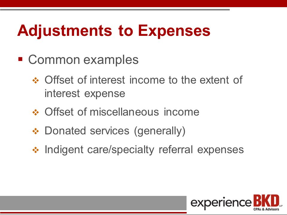 Adjustments to Expenses