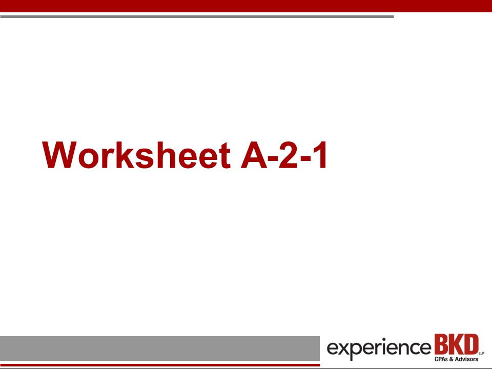 Worksheet A-2-1
