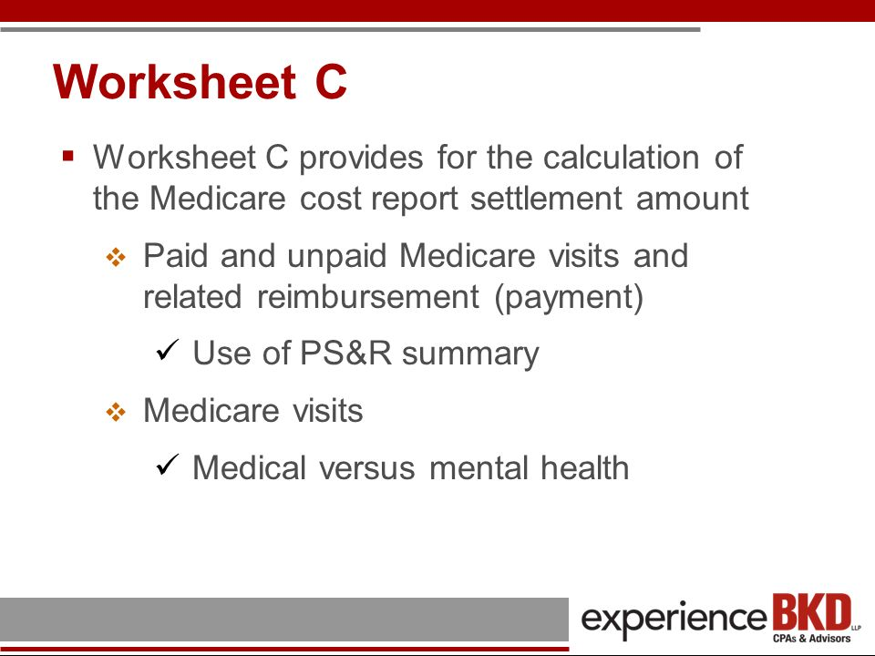 Worksheet C Worksheet C provides for the calculation of the Medicare cost report settlement amount.
