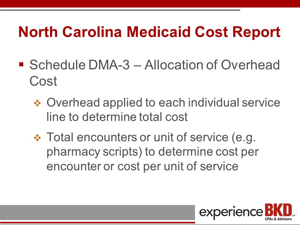 North Carolina Medicaid Cost Report