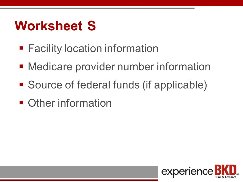 Worksheet S Facility location information