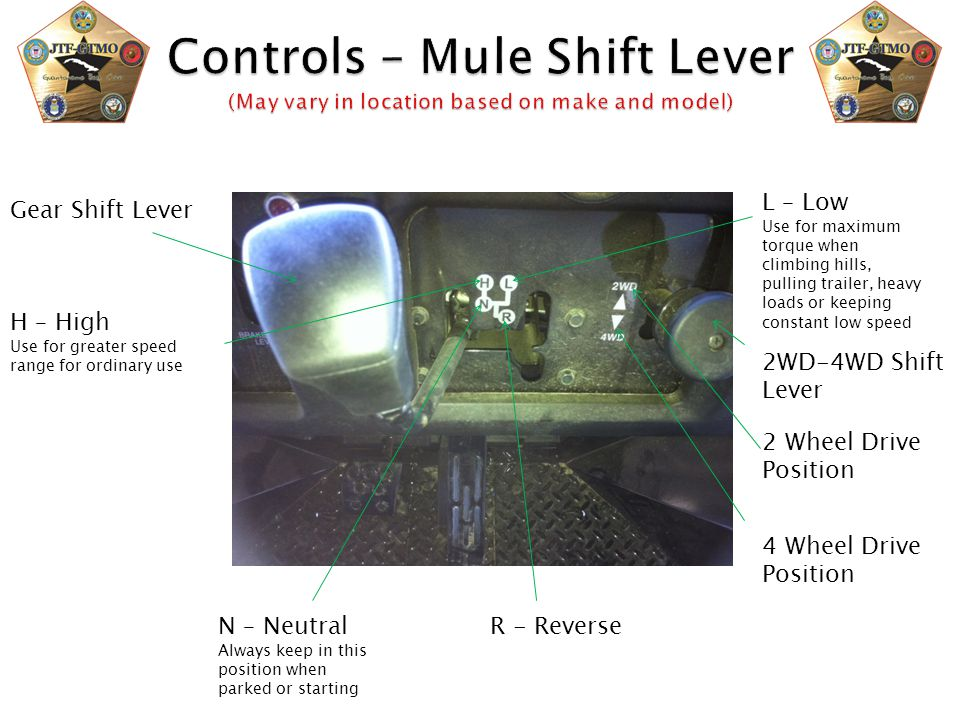 Controls – Mule Shift Lever (May vary in location based on make and model)