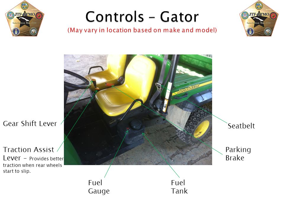 Controls – Gator (May vary in location based on make and model)