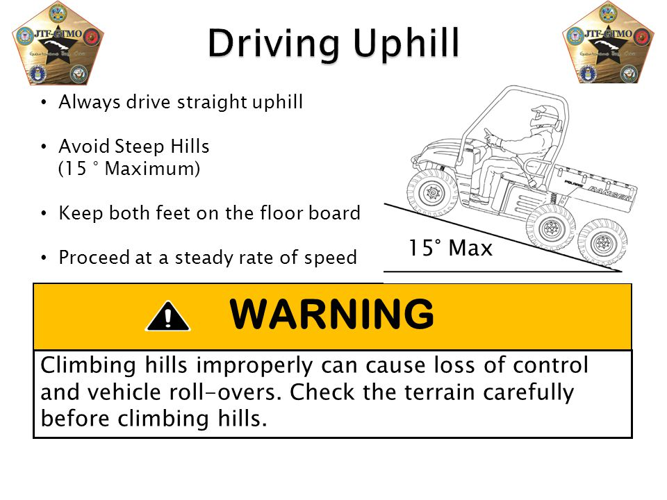 WARNING Driving Uphill 15° Max