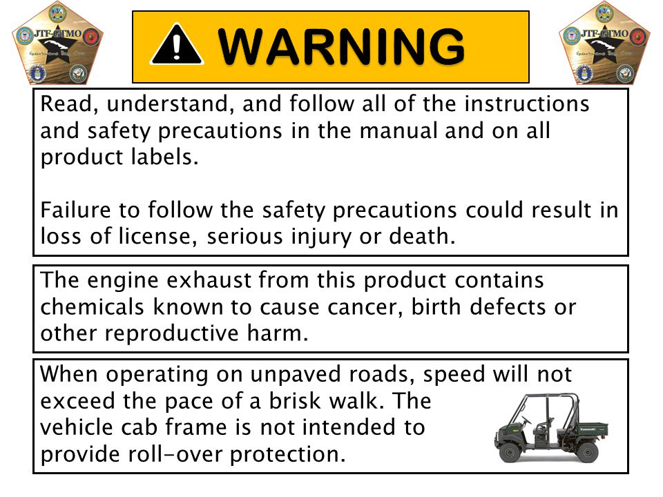 WARNING Read, understand, and follow all of the instructions and safety precautions in the manual and on all product labels.