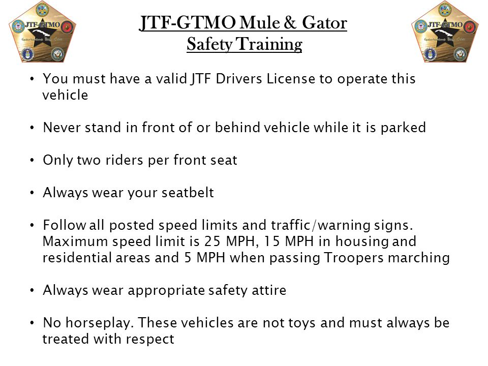 JTF-GTMO Mule & Gator Safety Training