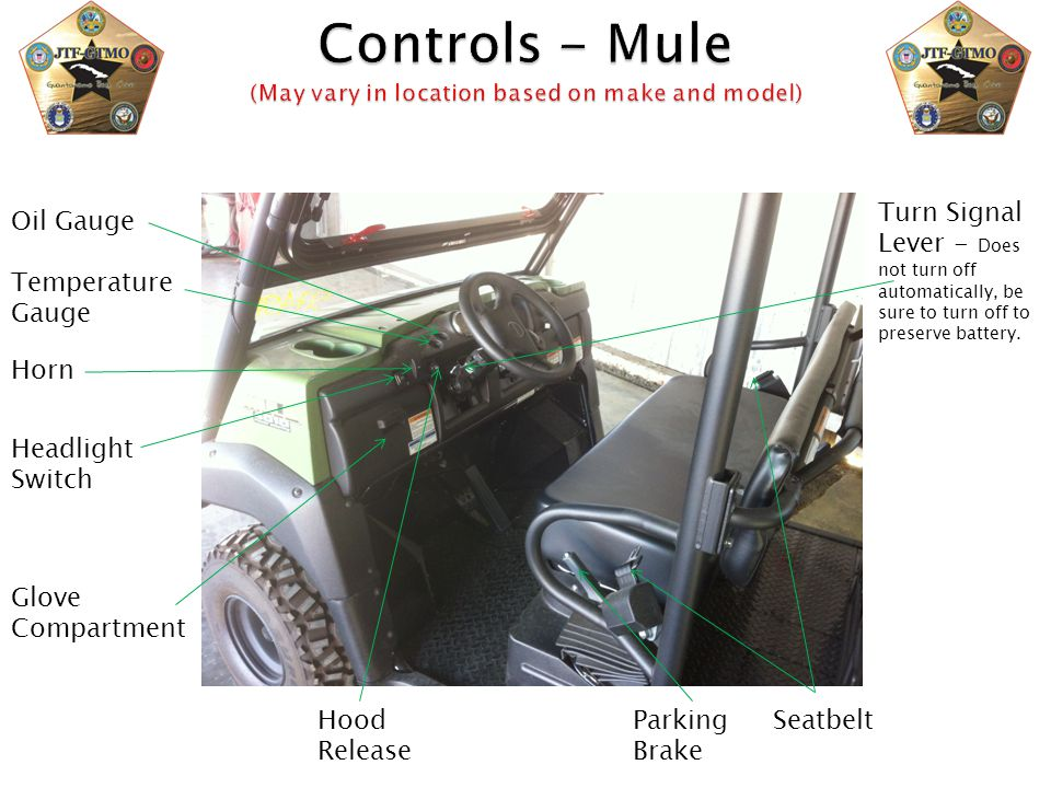Controls - Mule (May vary in location based on make and model)