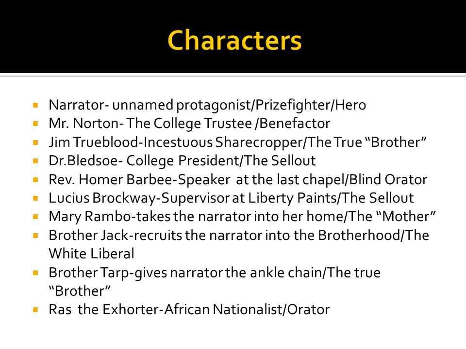 Characters Narrator- unnamed protagonist/Prizefighter/Hero