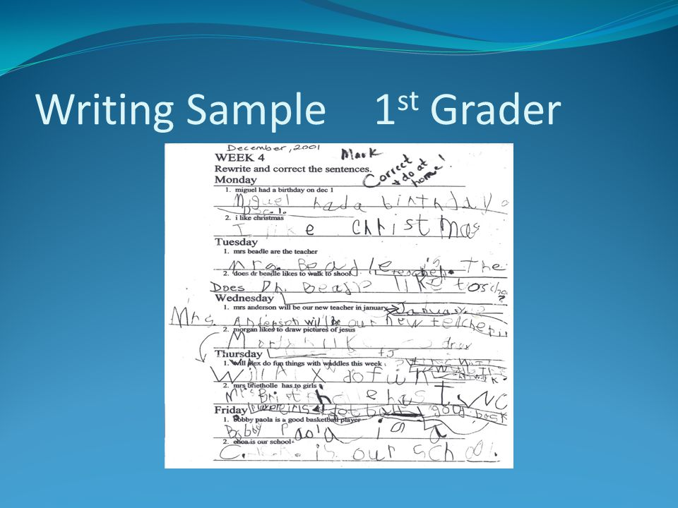 Writing Sample 1st Grader