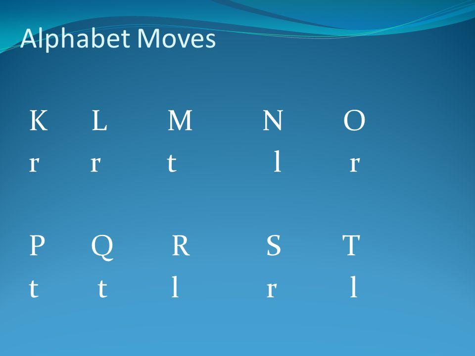 Alphabet Moves K L M N O r r t l r P Q R S T t t l r l