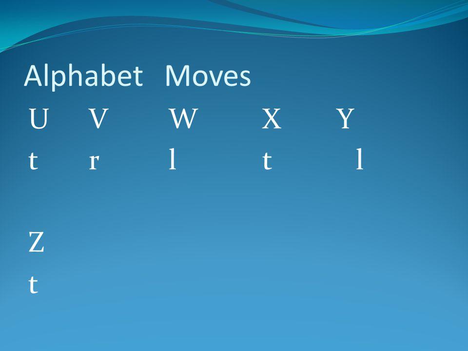 Alphabet Moves U V W X Y t r l t l Z t