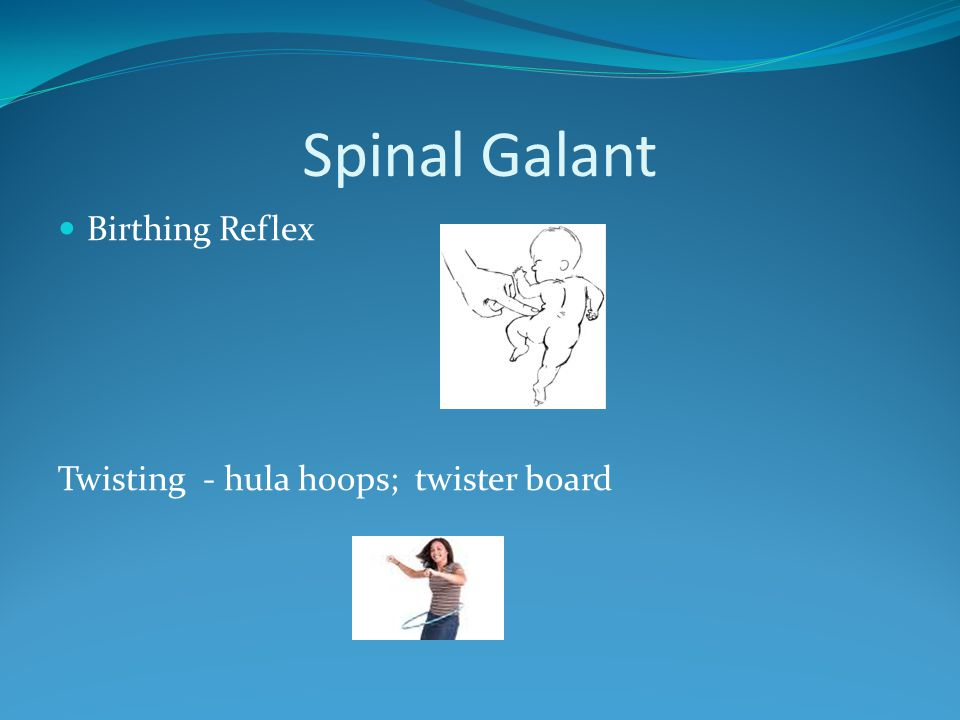 Spinal Galant Birthing Reflex Twisting - hula hoops; twister board