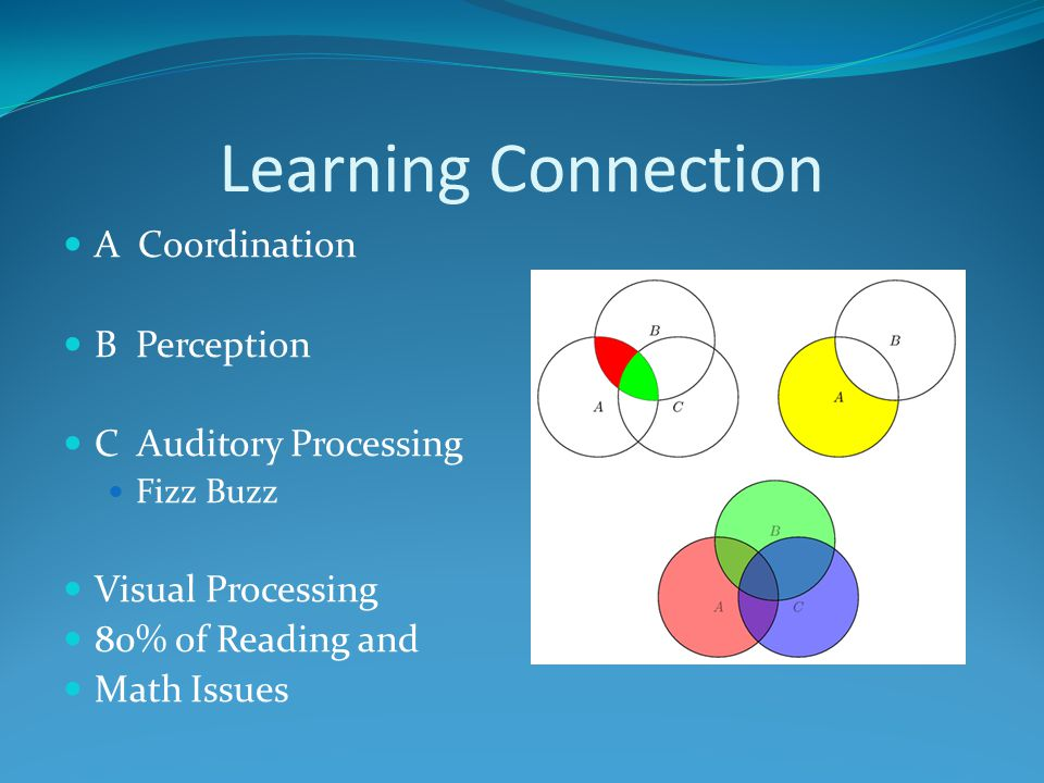 Learning Connection A Coordination B Perception C Auditory Processing