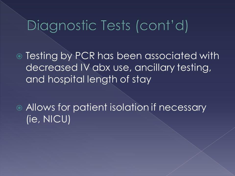 Diagnostic Tests (cont'd)