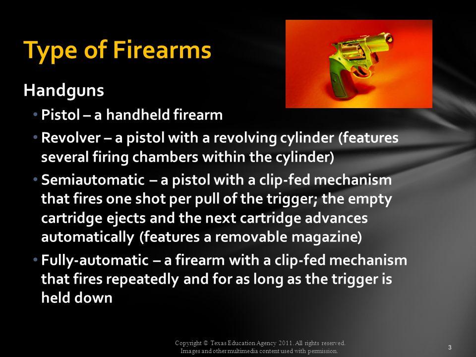 Type of Firearms Handguns Pistol – a handheld firearm