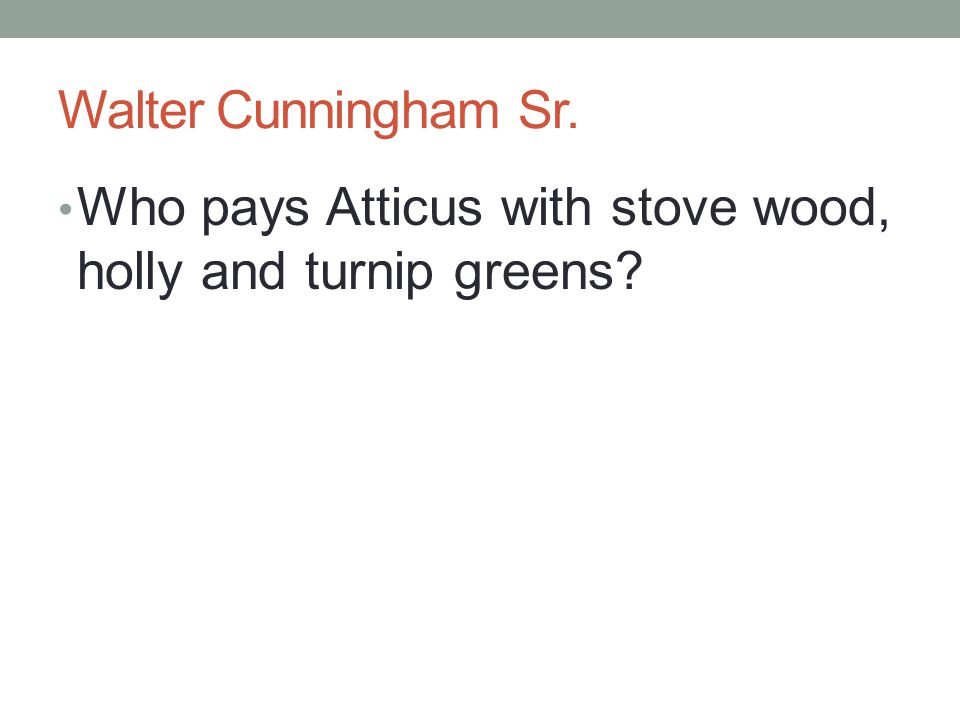 Walter Cunningham Sr. Who pays Atticus with stove wood, holly and turnip greens
