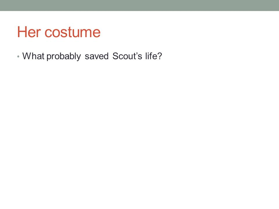 Her costume What probably saved Scout's life