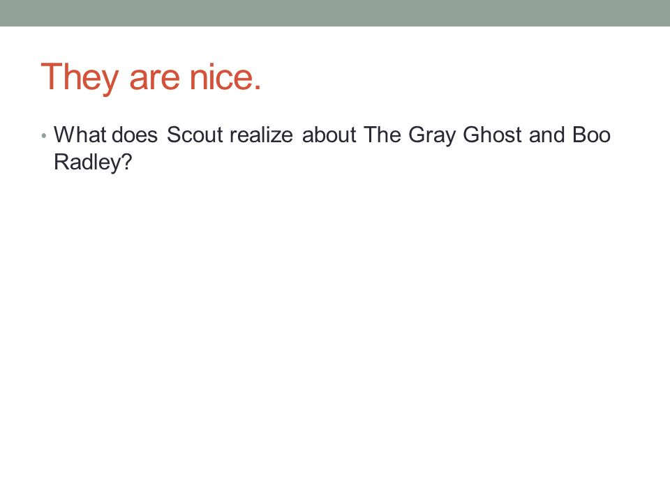 They are nice. What does Scout realize about The Gray Ghost and Boo Radley
