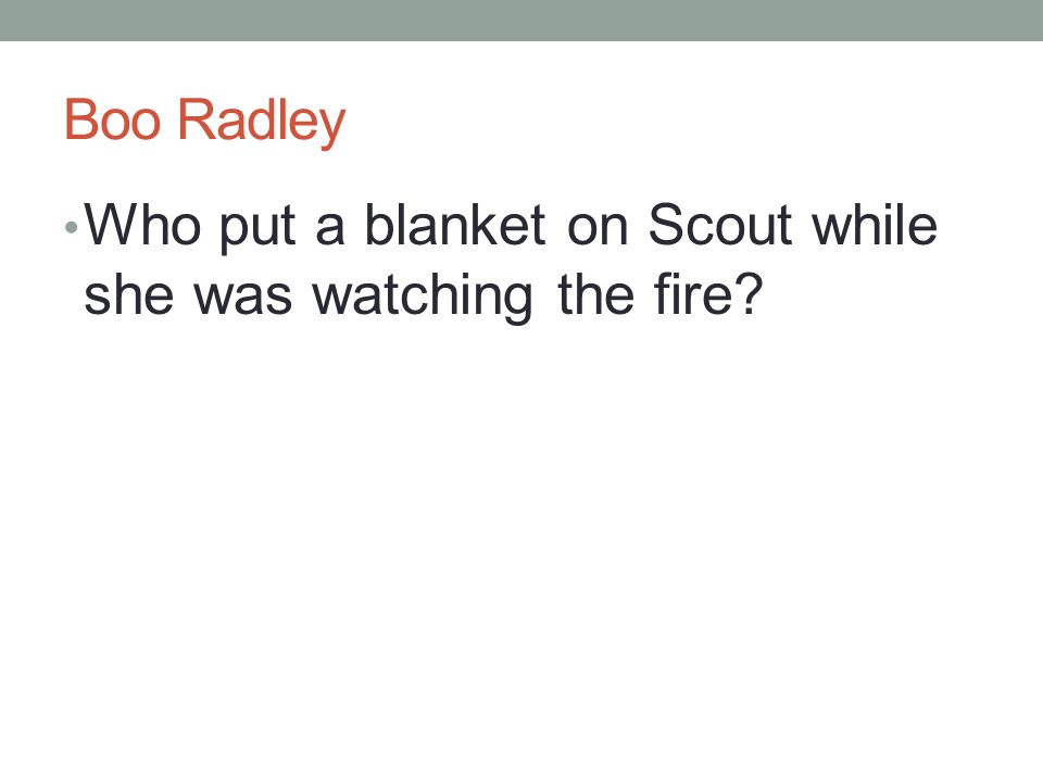 Boo Radley Who put a blanket on Scout while she was watching the fire