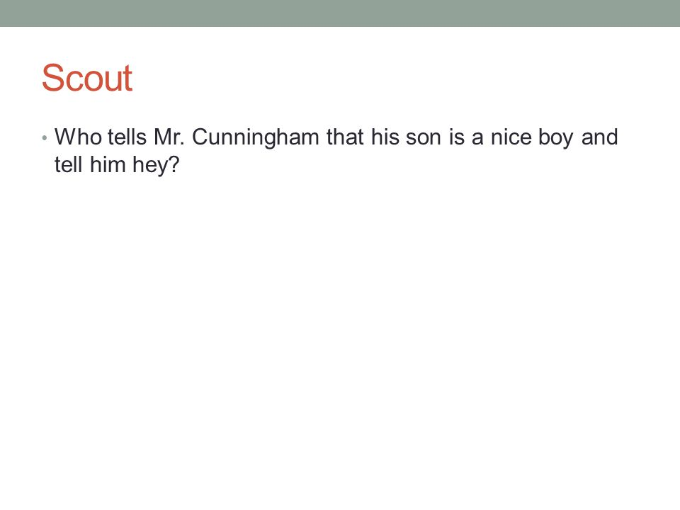 Scout Who tells Mr. Cunningham that his son is a nice boy and tell him hey