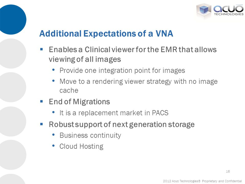 Additional Expectations of a VNA