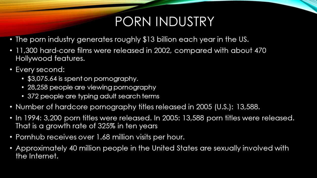 Porn industry The porn industry generates roughly $13 billion each year in the US.