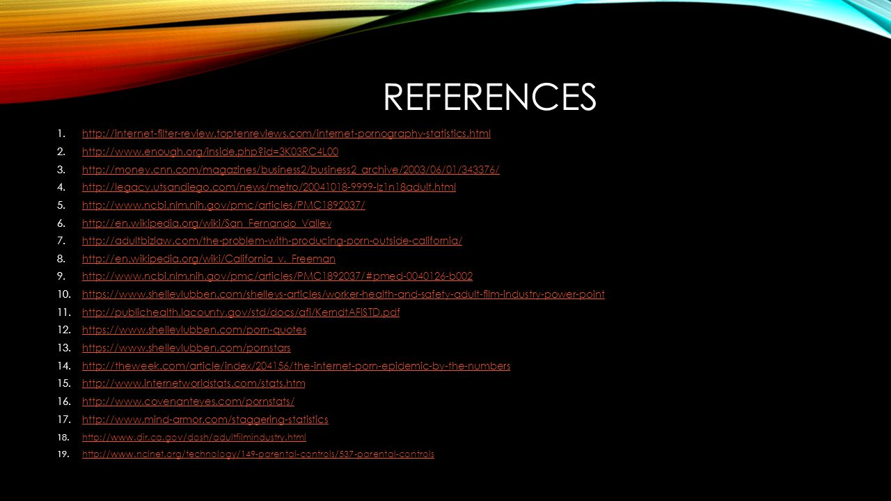 References http://internet-filter-review.toptenreviews.com/internet-pornography-statistics.html. http://www.enough.org/inside.php id=3K03RC4L00.