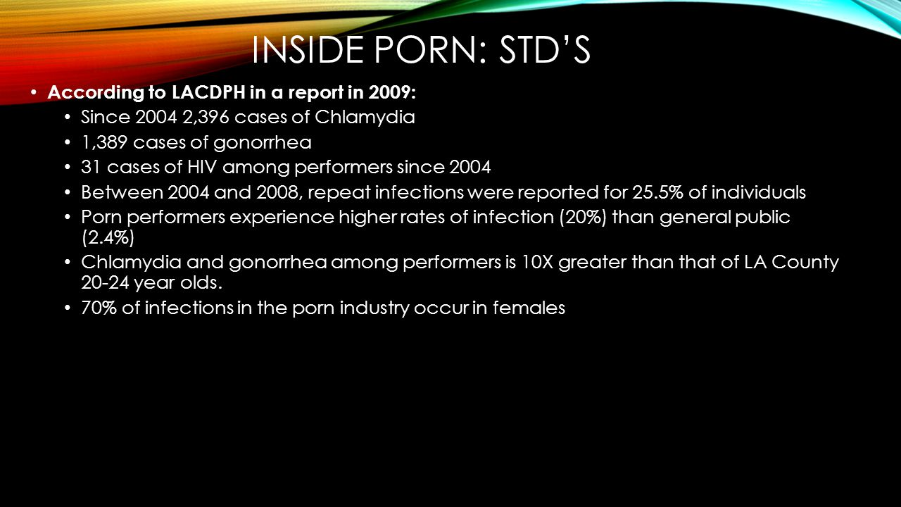 Inside porn: std's According to LACDPH in a report in 2009: