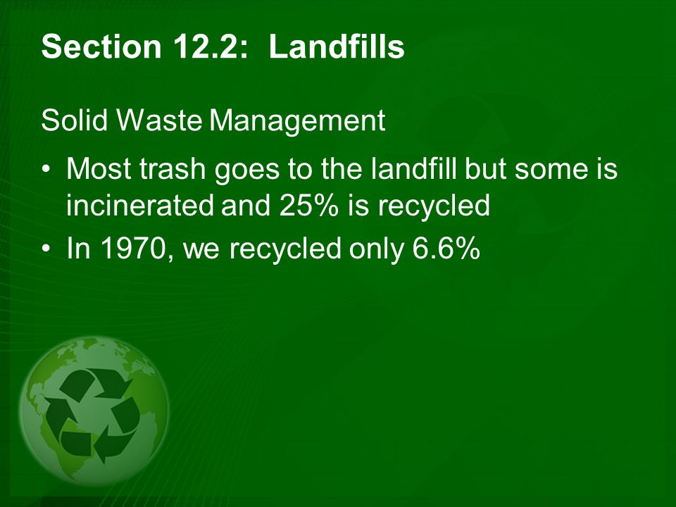 Section 12.2: Landfills Solid Waste Management