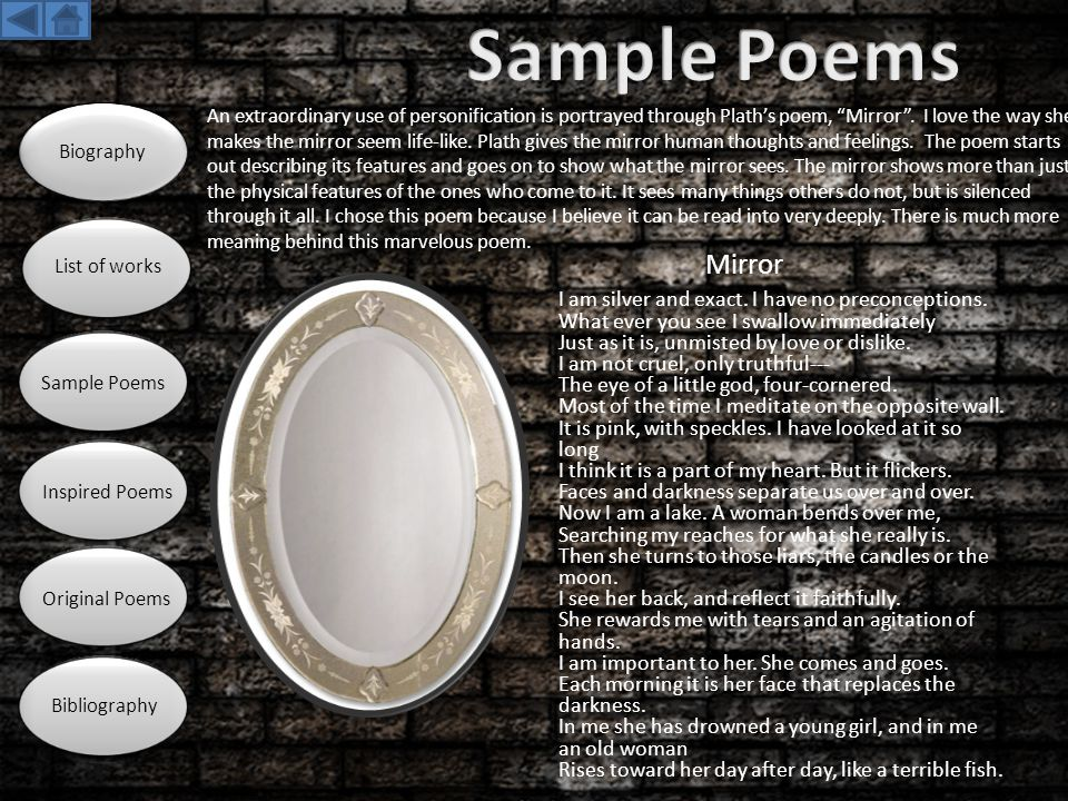 Sample Poems Biography. List of works. Sample Poems. Inspired Poems. Original Poems. Bibliography.