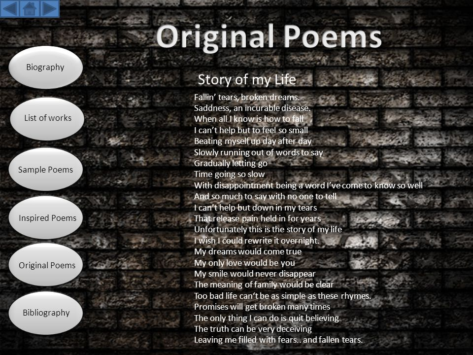Original Poems Story of my Life Biography