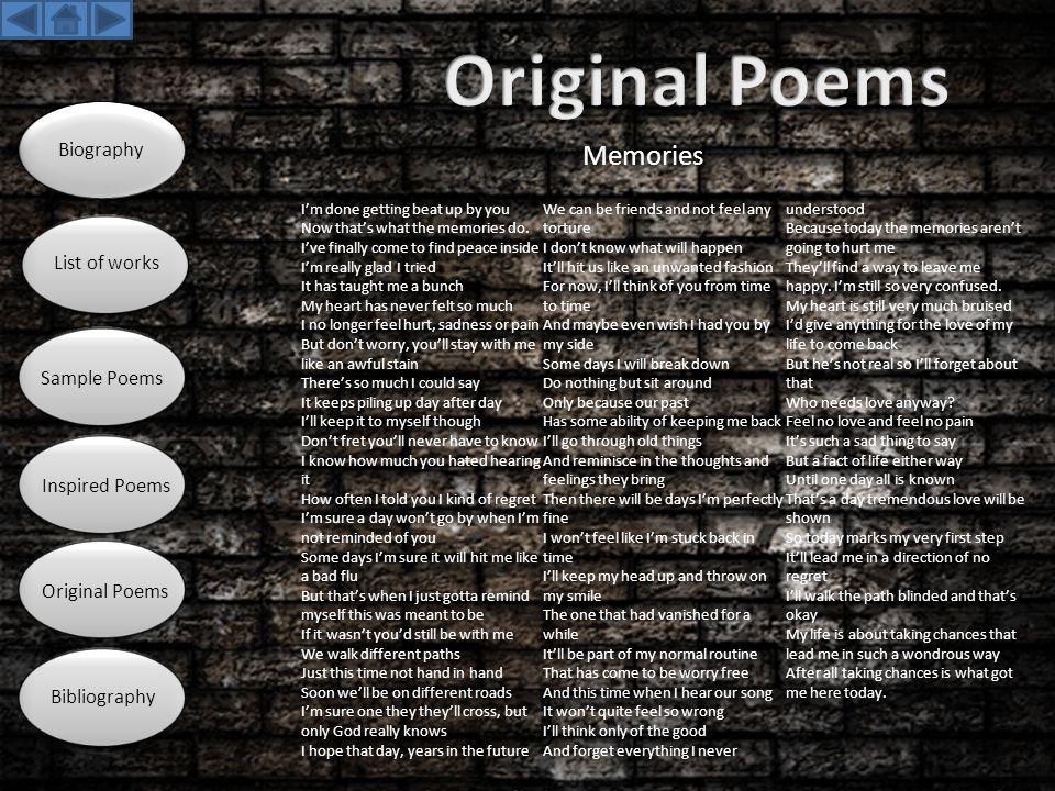 Original Poems Memories Biography List of works Sample Poems