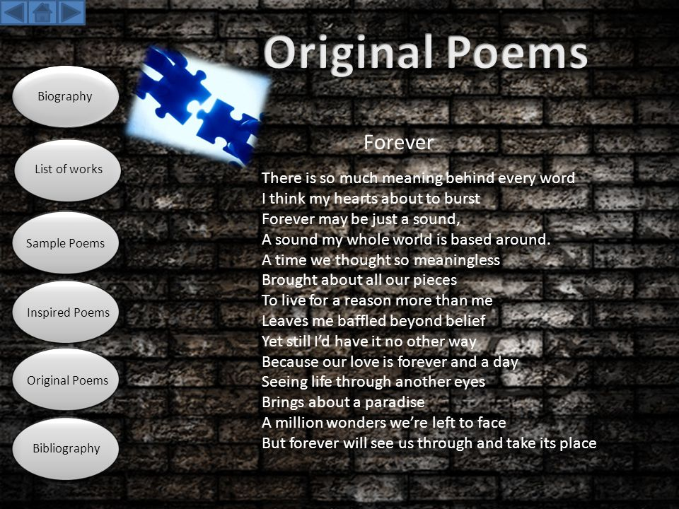 Original Poems Forever There is so much meaning behind every word