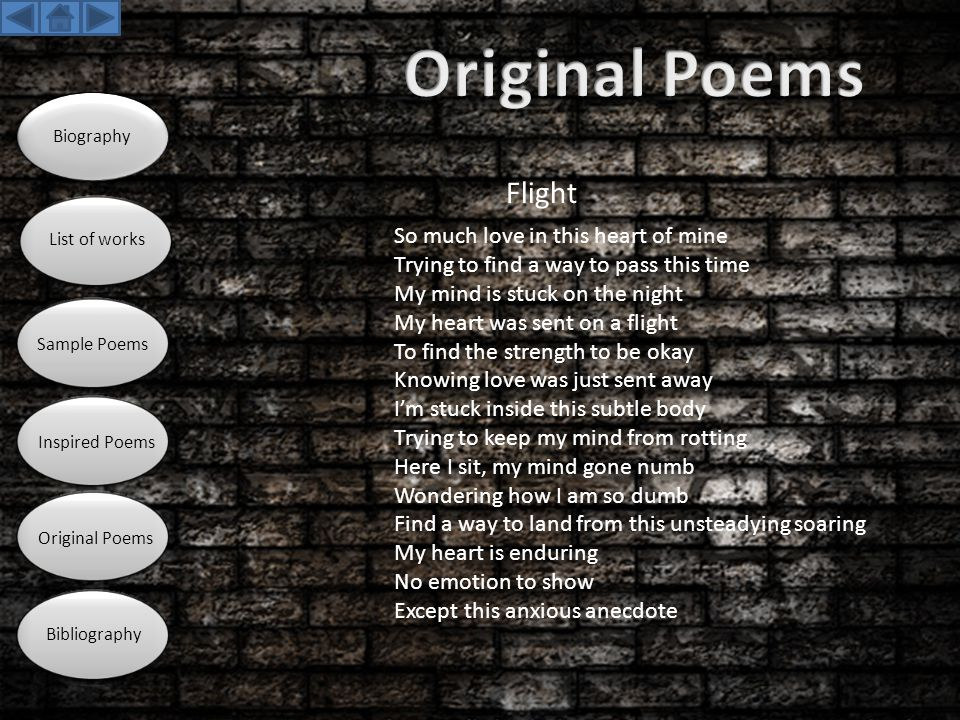 Original Poems Flight So much love in this heart of mine