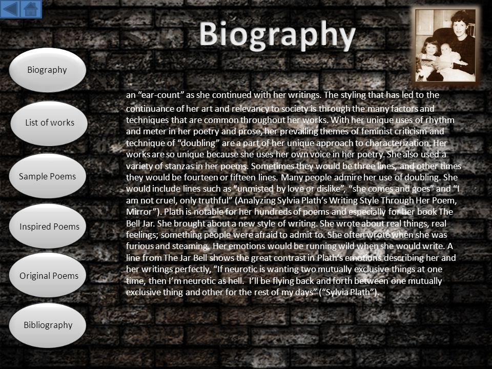 Biography Biography. List of works. Sample Poems. Inspired Poems. Original Poems. Bibliography.