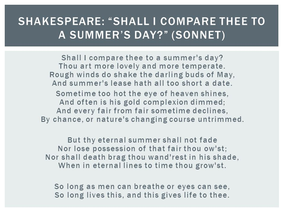 Shakespeare: Shall I compare thee to a summer's day (sonnet)