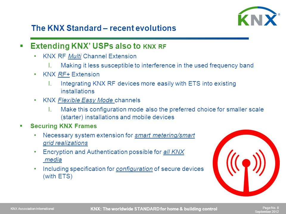 The KNX Standard – recent evolutions