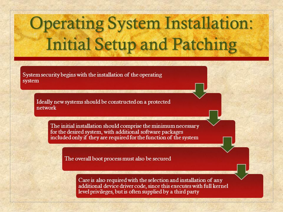 Operating System Installation: Initial Setup and Patching