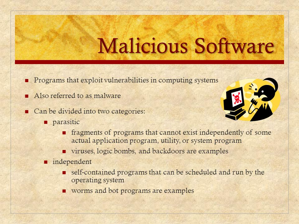 Malicious Software Programs that exploit vulnerabilities in computing systems. Also referred to as malware.