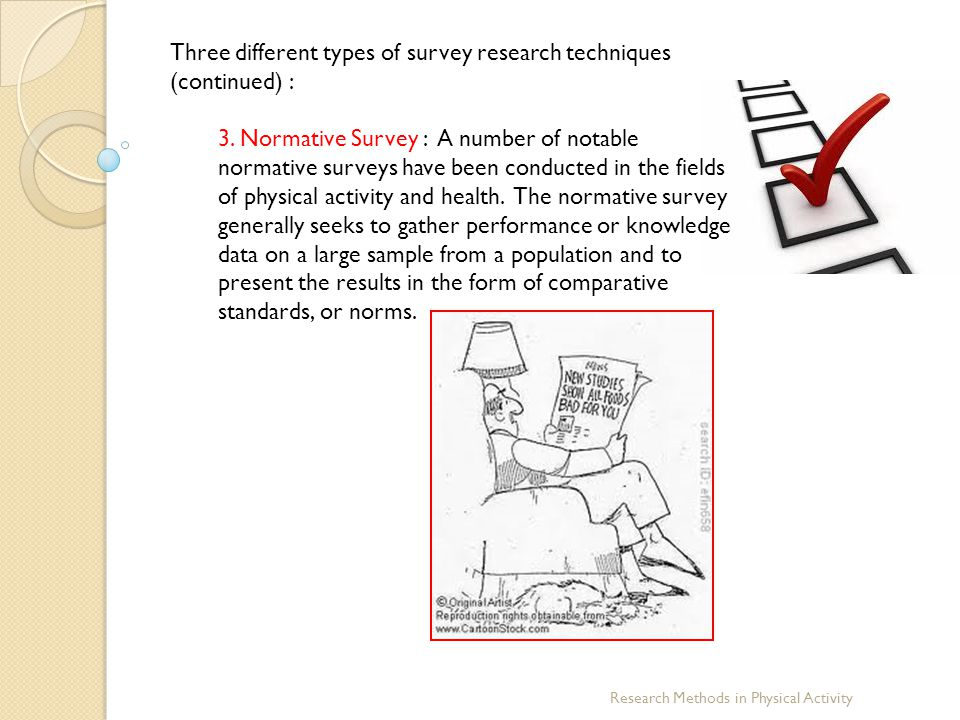 Three different types of survey research techniques (continued) :