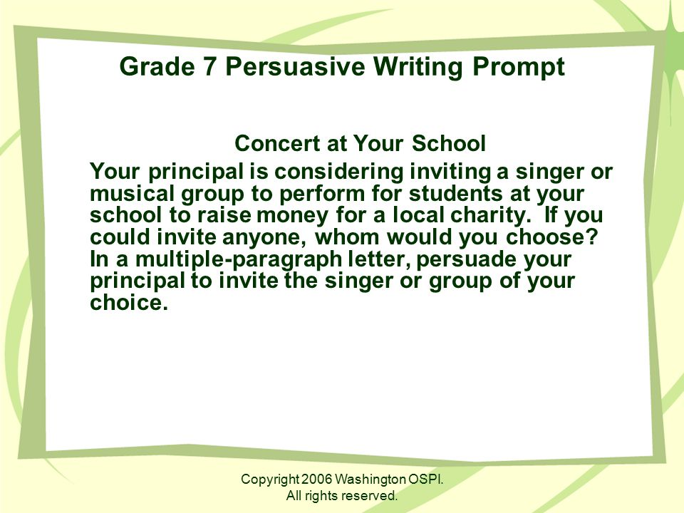 Grade 7 Persuasive Writing Prompt