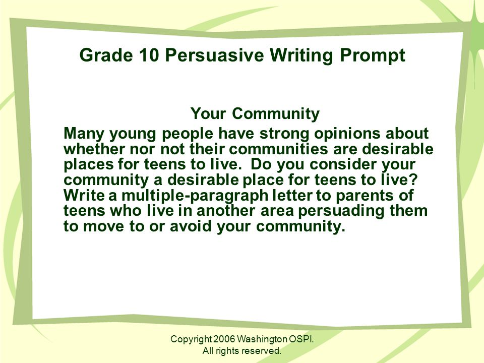 Grade 10 Persuasive Writing Prompt