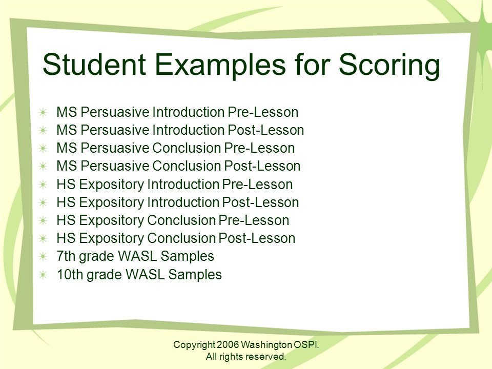 Student Examples for Scoring