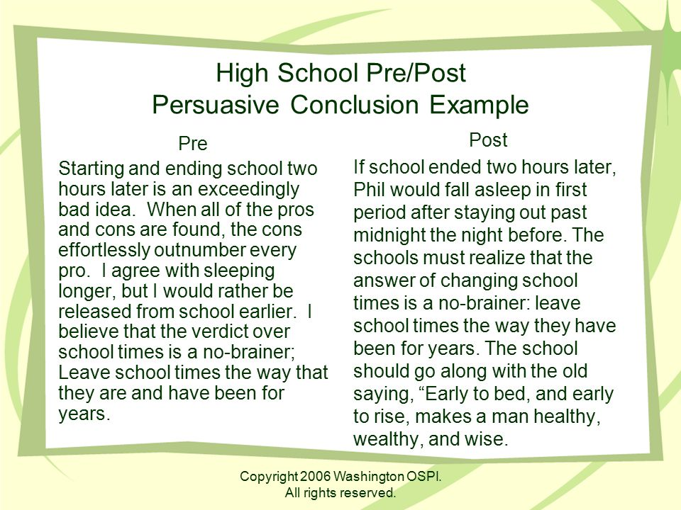 High School Pre/Post Persuasive Conclusion Example