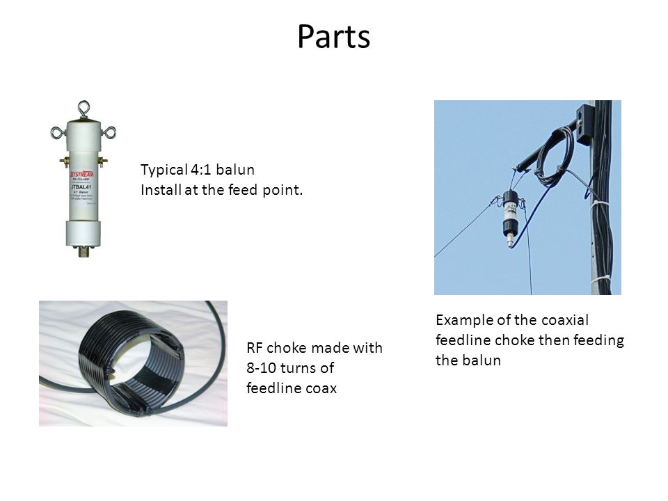 Parts Typical 4:1 balun Install at the feed point.