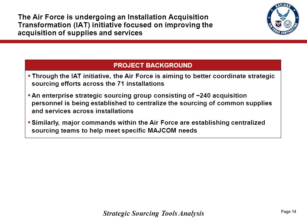 AIR FORCE STRATEGIC SOURCING MODEL The AF model currently has…
