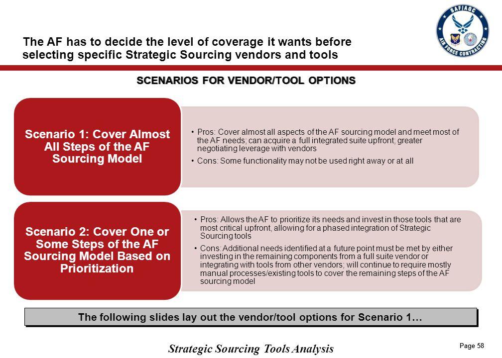 SCENARIO 1 VENDOR/TOOL OPTIONS (PAGE 1 OF 2)