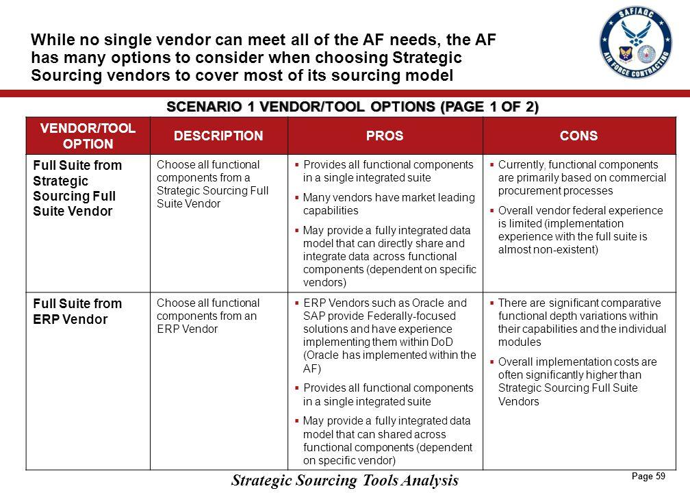 SCENARIO 1 VENDOR/TOOL OPTIONS (PAGE 2 OF 2)